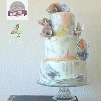 watercolor waferpaper cake for CakeCentralMagazine