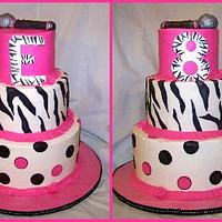 Hot pink zebra cake