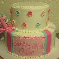 1st birthday 2 tier by Steel Penny Cakes, Elysia Smith