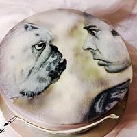 Man and dog painted cake