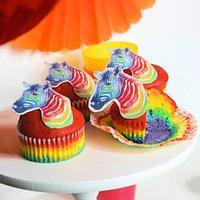 Rainbow Zebra Muffins