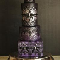 Sexy Damask and Lace Wedding Cake