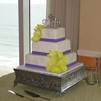 Elegant Orchid Wedding Cake