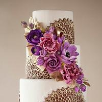 Purple & Gold Wedding Cake