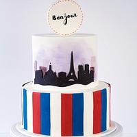 Double-sided cake themed with France & Australia