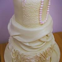 Ivory and pearl Wedding cake
