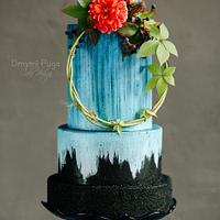 Blue glow wedding cake