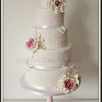 5 Tier pale pink wedding cake