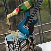 Champagne and Electric Guitar Cake
