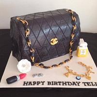 Designer handbag cake with accessories
