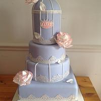 Blue and silver birdcage cake