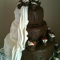 Bride and Groom In One Wedding Cake