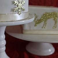 Classic white and gold Christmas cakes