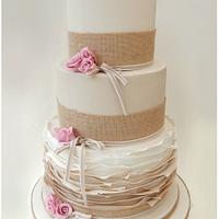 Rustic and Ruffled Wedding Cake