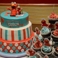 elmo themed 1st bday