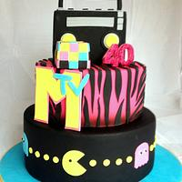 80's inspired 40th birthday cake