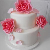 Vintage Rose Wedding Cake by Melissa's Cupcakes