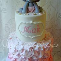 Pink Ruffles Baby Shower Cake