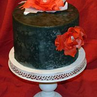 Airbrushed Cake and Wafer Paper Poinsettia