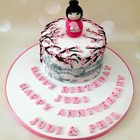 Japanese themes birthday/wedding anniversary cake