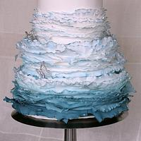 Blue Maggie Austin inspired Wedding Cake by Star Cakes