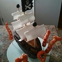 PIRATE SHIP CAKE TOPPER WITH TENTACLES
