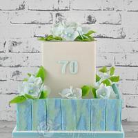 Hydrangea cake for birthday