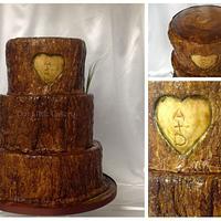 Tree Stump Wedding Cake by gizangel