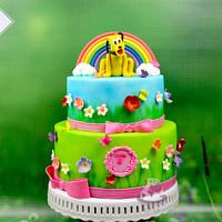 Girly cake with Pluto on top