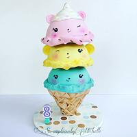 Gravity defying Nums Noms ice-cream cone cake