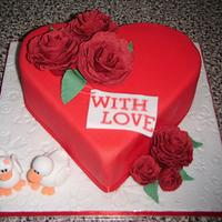 Love ducks valentines cake
