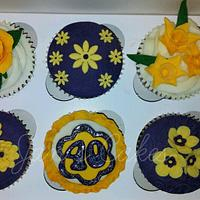 40th Birthday floral cupcakes