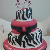 Pink Zebra 3 Tier Cake