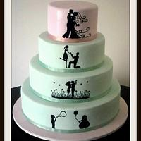 SILHOUETTE WEDDING CAKE