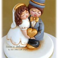 "Cake topper ""Bride & Groom in Thun style"""