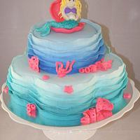 Ombre ruffle mermaid cake