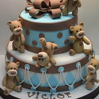 Bears baby shower cake, tarta bautizo ositos