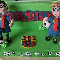 Barcelona cake with Messi and a little boy.. by marja