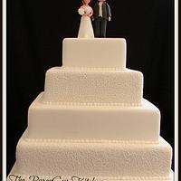 White Filigree Wedding Cake
