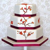 Japanese Orange Blossom Wedding Cake