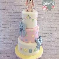Baby Bunny Rabbit 3 Tier Christening Cake