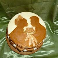 Sepia Wedding Photo Anniversary Cake by Cherie Permalino