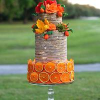 Orange Rustic Mother´s day Cake