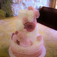 Dusky Pink Gradient Frill & Rose Wedding Cake