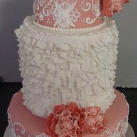 Dusty Pink wedding cake with peonies and ruffles