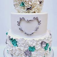 Teal & Silver Ruffle Cake