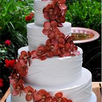 Copper Vanda Orchid Wedding Cake