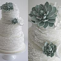 Succulent Ruffle Wedding Cake