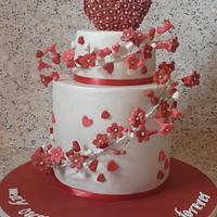 wedding anniversary red and white cake