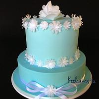 2 tier turquoise and white flower cake by Jen C